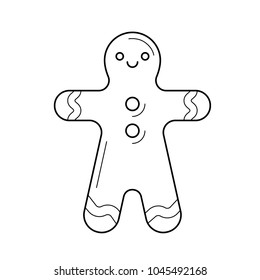 Gingerbread man vector line icon isolated on white background. Cookies for christmas - gingerbread man line icon for infographic, website or app.