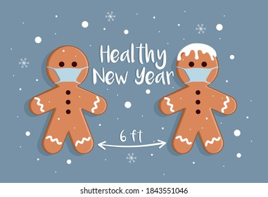 gingerbread man wishes merry Christmas and healthy new year