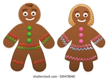 Gingerbread man and woman - cute and sweet christmas cookie couple.