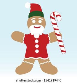 Gingerbread men - Santa Claus with christmas caramel stick.