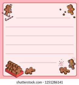Gingerbread men with sugar canes, cookie crumbs, in box and fainted (christmax bakery template, framed and lined for your own text)