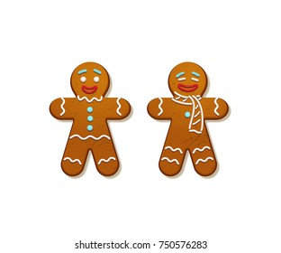 Gingerbread men. Vector Christmas and New Year holiday elements.