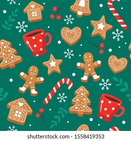 Gingerbread pattern. Festive background with cookies, cups, candy cane. Vector illustration in flat style