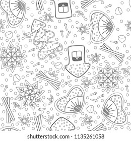 Gingerbread. Seamless Pattern. Coloring book for adults and children. New Year, Christmas design. For the kitchen, cafe, shop. Heart, house, tree, snowflake star carnation anise hazelnut cinnamon
