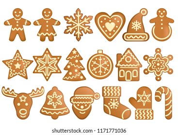 Gingerbread set isolated on white background. Vector objects forms gingerbread toys, holiday items, Christmas and New Year symbols, icons, winter holiday.