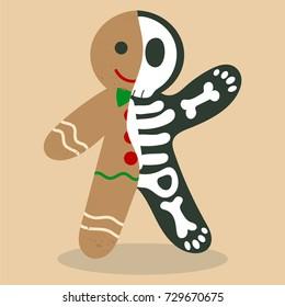 Gingerbread skeleton vector cartoon. Gingerbread man with half skeleton. Funny cookie man.