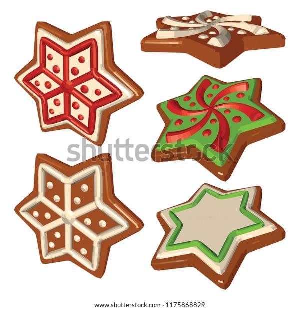 Gingerbread Snowflakes Different Views Set Cookies Stock Vector