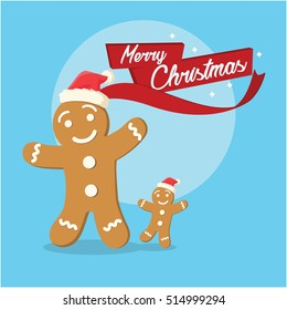 gingerbread and its son merry christmas illustration