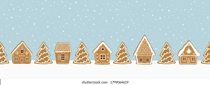 Gingerbread village. Christmas background. Seamless winter border. There are gingerbread houses and fir trees on a blue background. Greeting card template. Vector illustration