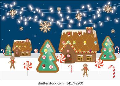 gingerbread village vector/illustration