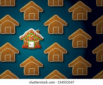 Gingerbreads in shape of christmas house with icing. Concept with group of holiday cookies. Vector image for new year's day, christmas, winter holiday, cooking, new year's eve, food, silvester, etc