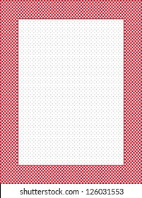 Gingham Check Frame with Polka dot Background. Red and white picture frame, polka dot background, copy space, vertical, rectangle. EPS8 compatible.