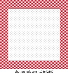 Gingham Check Frame, red and white, polka dot background, copy space for posters, announcements, scrapbooks. EPS8 compatible.