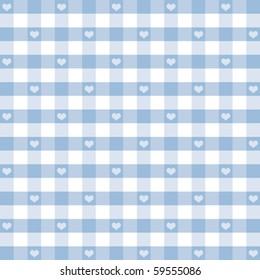 Gingham Check and Hearts seamless pattern, pastel blue and white for baby albums, scrapbooks, arts, crafts, fabrics. EPS8 compatible file has pattern swatch that will seamlessly fill any shape.