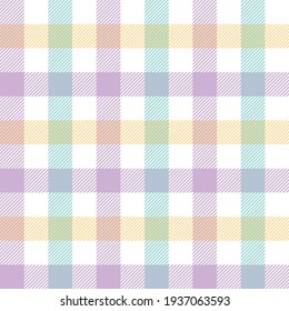 Gingham check pattern colorful in pastel purple, green, yellow, white. Seamless light bright tartan plaid graphic for gift paper, tablecloth, napkins, modern spring summer textile or paper print.
