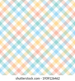 Gingham check pattern seamless for tablecloth design. Colorful pastel light tartan vector graphic for picnic blanket, oilcloth, gift paper, other trendy Easter holiday fashion textile print.