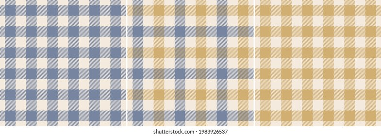 Gingham check pattern set in blue, gold, off white. Seamless striped texture. Vichy vector for flannel shirt, tablecloth, oilcloth, picnic blanket, dress, other modern spring autumn fashion textile.