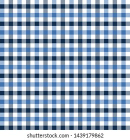 Gingham pattern black and blue. Texture from rhombus/squares for - plaid, tablecloths, clothes, shirts, dresses, paper, bedding, blankets, quilts and other textile products. Vector illustration EPS 10
