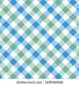 Gingham pattern blue and green. Texture from rhombus/squares for - plaid, tablecloths, clothes, shirts, dresses, paper, bedding, blankets, quilts and other textile products. Vector illustration EPS 10