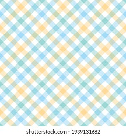 Gingham pattern graphic in light blue, green, yellow, white. Vichy check plaid striped seamless vector for spring summer tablecloth, oilcloth, towel, picnic blanket, other modern fashion fabric print.