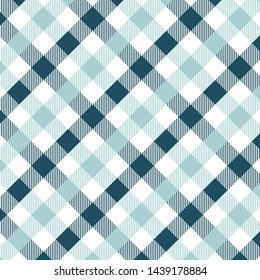 Gingham pattern light blue. Texture from rhombus/squares for - plaid, tablecloths, clothes, shirts, dresses, paper, bedding, blankets, quilts and other textile products. Vector illustration EPS 10