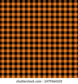Gingham pattern orange and black. Texture from squares for - plaid, tablecloths, clothes, shirts, dresses, paper, bedding, blankets, quilts and other textile products. Vector illustration EPS 10
