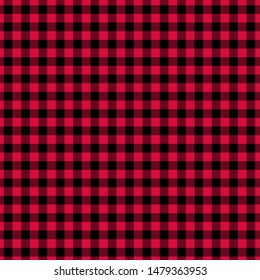 Gingham pattern red and black. Texture from squares for - plaid, tablecloths, clothes, shirts, dresses, paper, bedding, blankets, quilts and other textile products. Vector illustration EPS 10