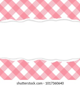 Gingham pattern ripped paper vector with copy space.