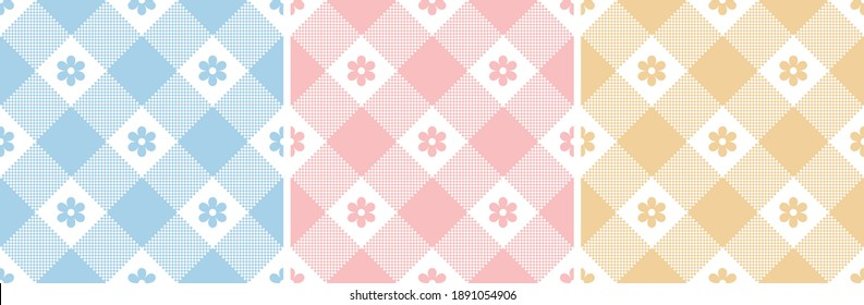 Gingham pattern set in blue, pink, orange yellow. Seamless floral vichy checked plaid backgrounds for gift wrapping, dress, skirt, digital paper, or other modern holiday textile or paper design.
