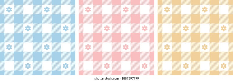 Gingham pattern set. Floral checked plaids in blue, pink, yellow, white. Seamless pastel vichy tartan backgrounds with small flowers for tablecloth, dress, or other Easter holiday textile design.