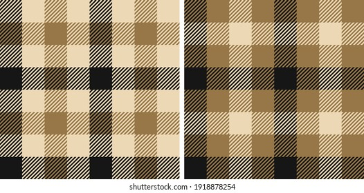 Gingham pattern set textured in black, gold, beige. Vichy seamless check background art lumberjack graphics for shirt, tablecloth, other modern spring autumn winter casual fashion fabric design.