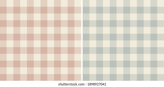 Gingham patterns in beige, pink, blue. Spring textured pastel old vichy check plaid graphic classic backgrounds for vintage dress, skirt, shirt, tablecloth, or other modern fashion fabric design.
