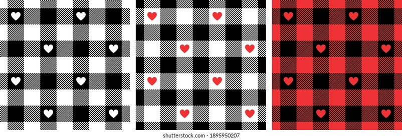 Gingham patterns with hearts in black, red, white. Seamless Scottish tartan vichy textured check plaid for dress, shirt, tablecloth, gift wrapping, or other modern Valentines Day holiday print.