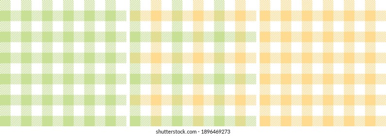 Gingham patterns in pastel green and yellow. Spring textured light bright tartan vichy check plaid graphic background vector for dress, skirt, shirt, tablecloth, or other modern fashion fabric design.