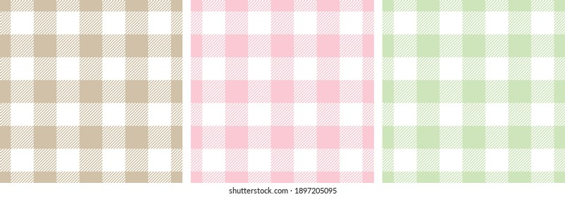 Gingham patterns in pink, green, beige, white. Spring summer light pastel seamless Scottish tartan vichy textured check plaids for dress, shirt, tablecloth, or other modern Easter holiday print.