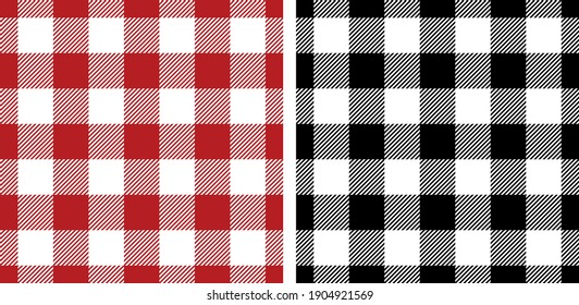 Gingham patterns red, black, white. Seamless vichy backgrounds for picnic tablecloth, dress, skirt, gift wrapping paper, napkins, or other modern spring summer autumn winter lumberjack textile design.
