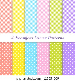 Gingham and Polka Dot Patterns in 6 Easter colors: coral / orange, yellow, pink, blue, grass green and purple / violet. Pattern Swatches with Global Colors - easy to change all patterns in one click.