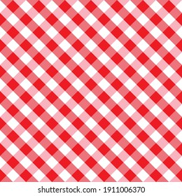 Gingham red checkered seamless pattern. Plaid repeat design background. EPS10 vector illustration, CMYK redy to print.