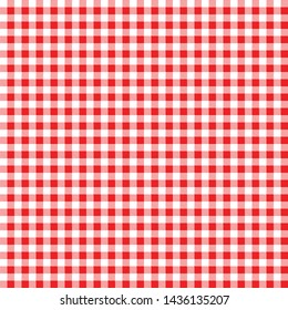 Gingham red pattern. Square geometric texture for plaid, tablecloths, clothes, T-shirts, dresses, paper, bedding, blankets, quilts and other textile products. Seamless vector background