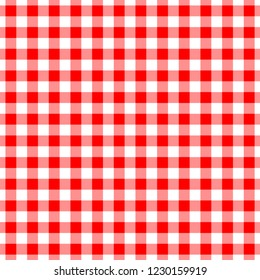 Gingham red seamless pattern. Checkered plaid design background.