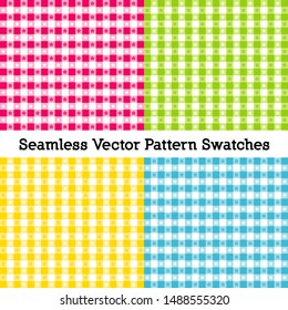 Gingham Seamless Check Patterns, Vector file includes four pattern swatches that seamlessly fill any shape, four beach colors: magenta, lime green, sunshine yellow, turquoise blue.