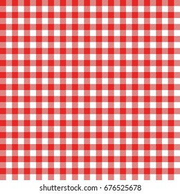 Gingham seamless pattern. Red Italian tablecloth. Picnic tale cloth vector.