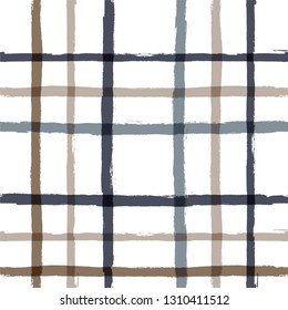 Gingham seamless pattern. Rhombus and squares texture for textile: shirts, plaid, tablecloths, clothes, dresses, bedding, blankets, paper. vector checkered summer paint brush strokes.