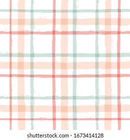 Gingham seamless pattern. watercolor pastel strokes texture for textile: shirts, plaid, tablecloths, clothes, dresses, bedding, blankets, paper, makeup. vector checkered summer girly print