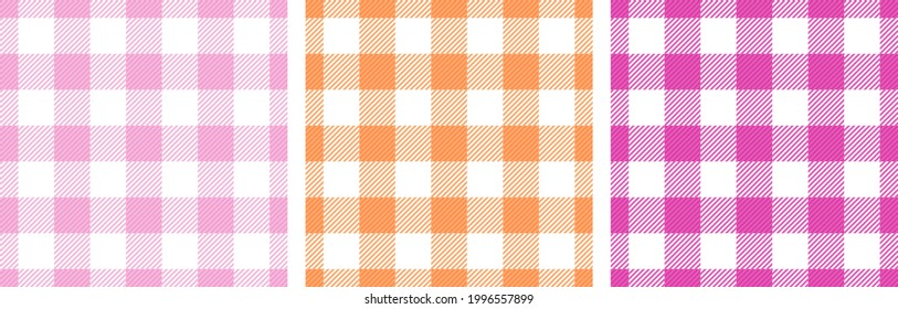 Gingham tablecloth lines cells organic seamless paterns design. Plaid checkered woven fabric print for scarf. Crossed lines menswear pattern.