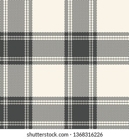 Gingham / vichy / buffalo check plaid seamless pattern vector for textile print in beige and grey.