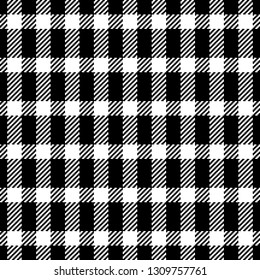 Gingham / vichy pattern in black & white. Pixel texture. Tartan check plaid pattern. Seamless tile for fabric design. Use for picnic tablecloth, bed sheet, blanket, coat, and other textile products.