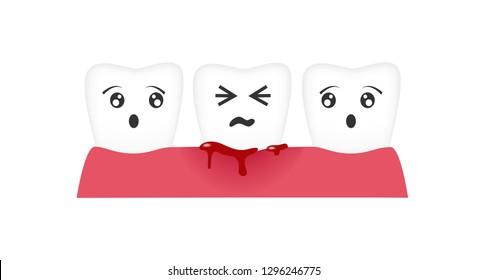 gingivitis tooth / blood bleeding vector