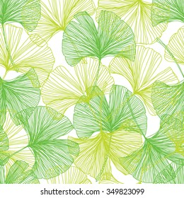 Gingko biloba seamless vector background pattern. Green colors. Hand drawn background on white