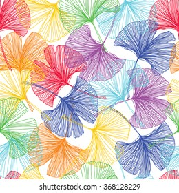 Gingko biloba seamless vector background pattern. Multicolors. Hand drawn background on white